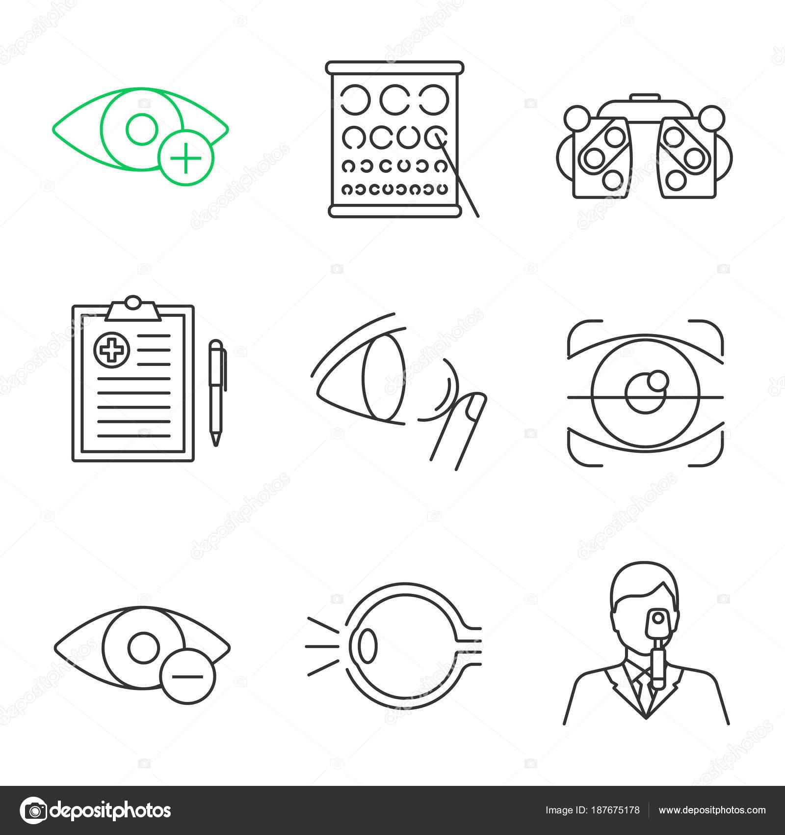 Conjunto Iconos Lineal Oftalmología Hipermetropía Foróptero Informe ...