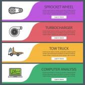 Auto workshop web banner šablony