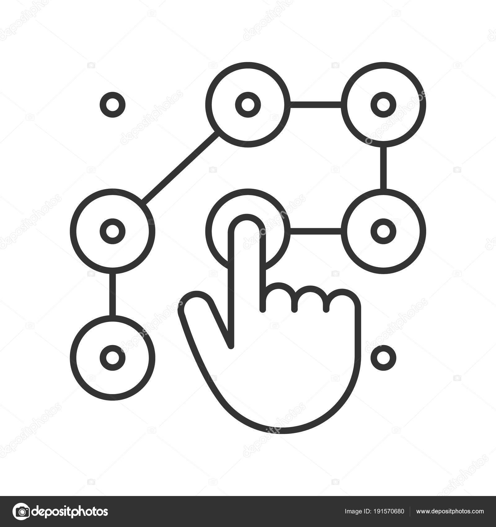 muster linear schlosssymbol dnne linie abbildung hand eingeben smartphone passwort stockvektor - Muster Passwort