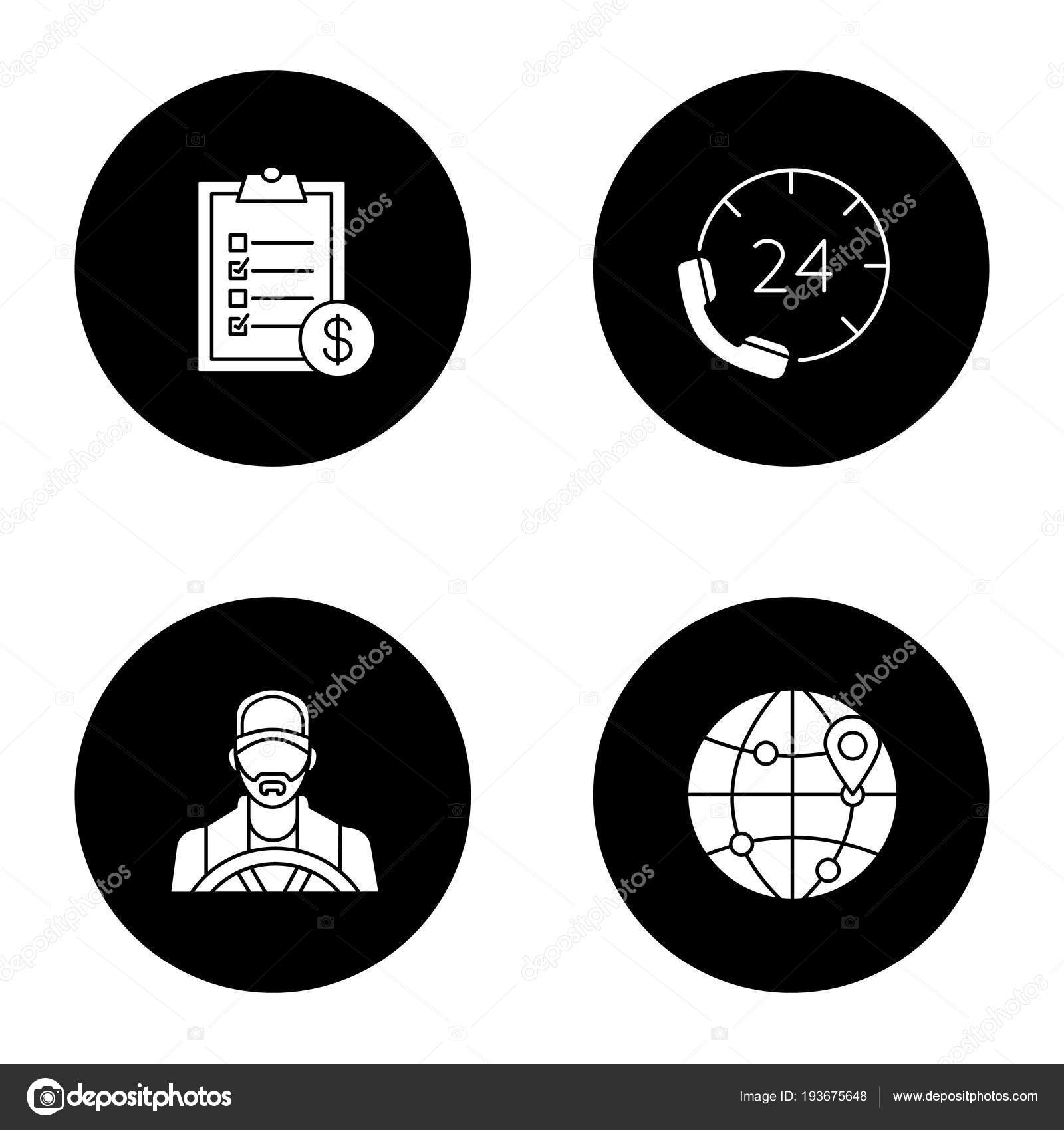 internationale factuur Levering Dienst Iconen Set Driver Factuur Internationale