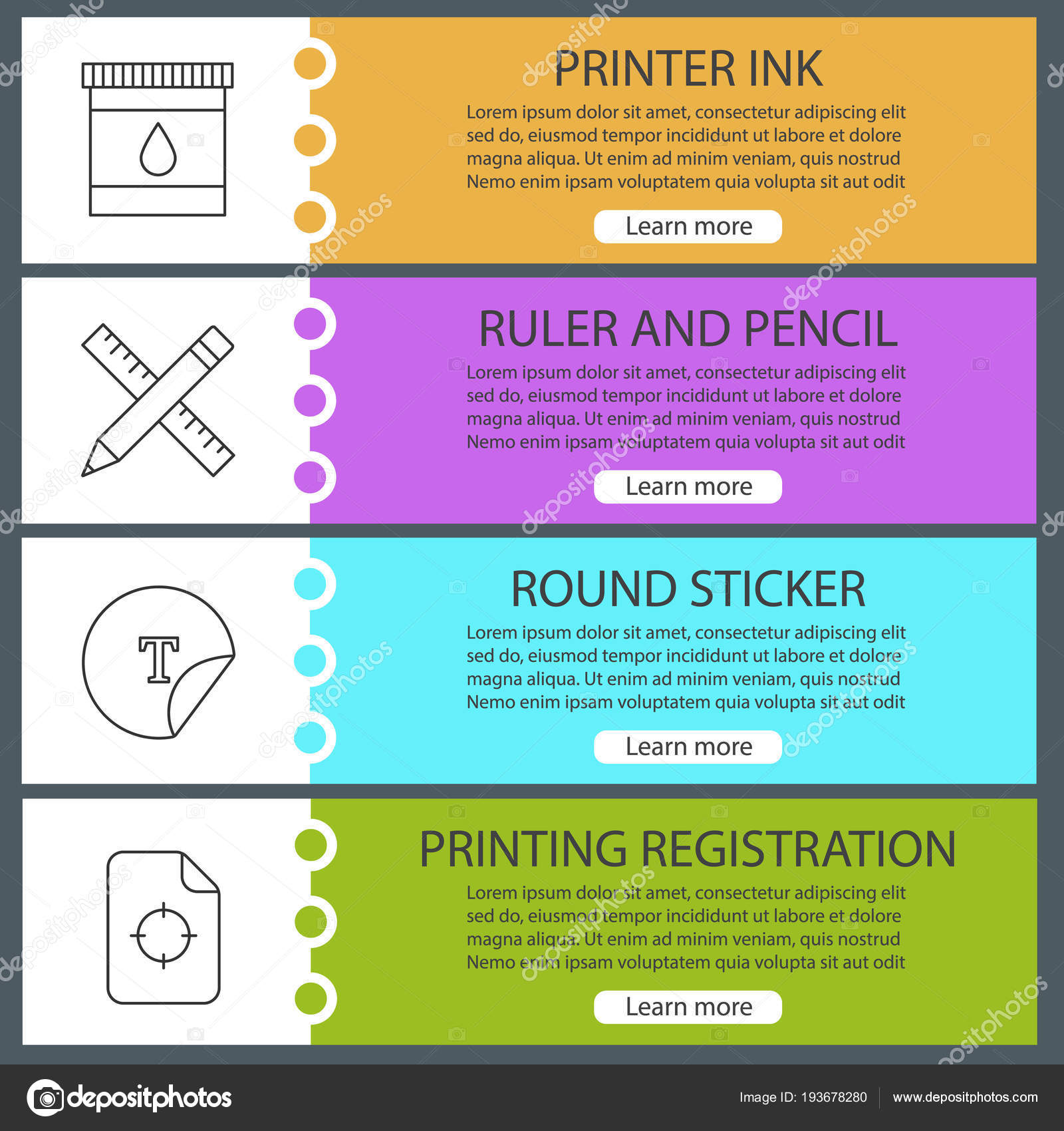 Printing Web Banner Templates Set Printer Ink Ruler Pencil Sticker ...