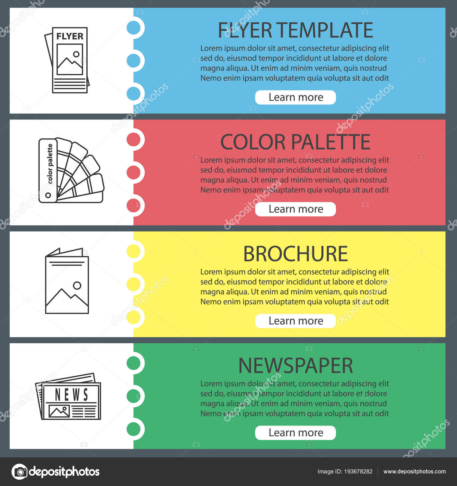 printing web banner templates set flyer template color palette