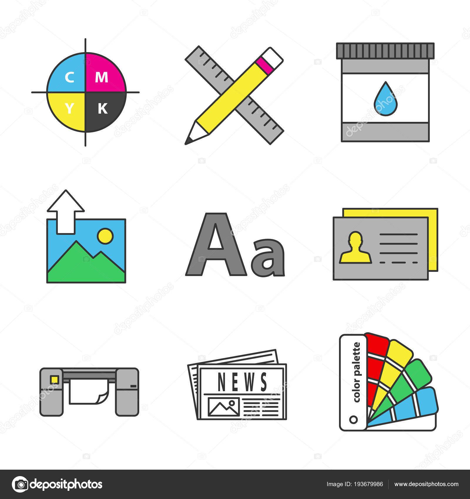 Farbtabelle Symbole Drucken Cmyk Farbmodell Bleistift Und