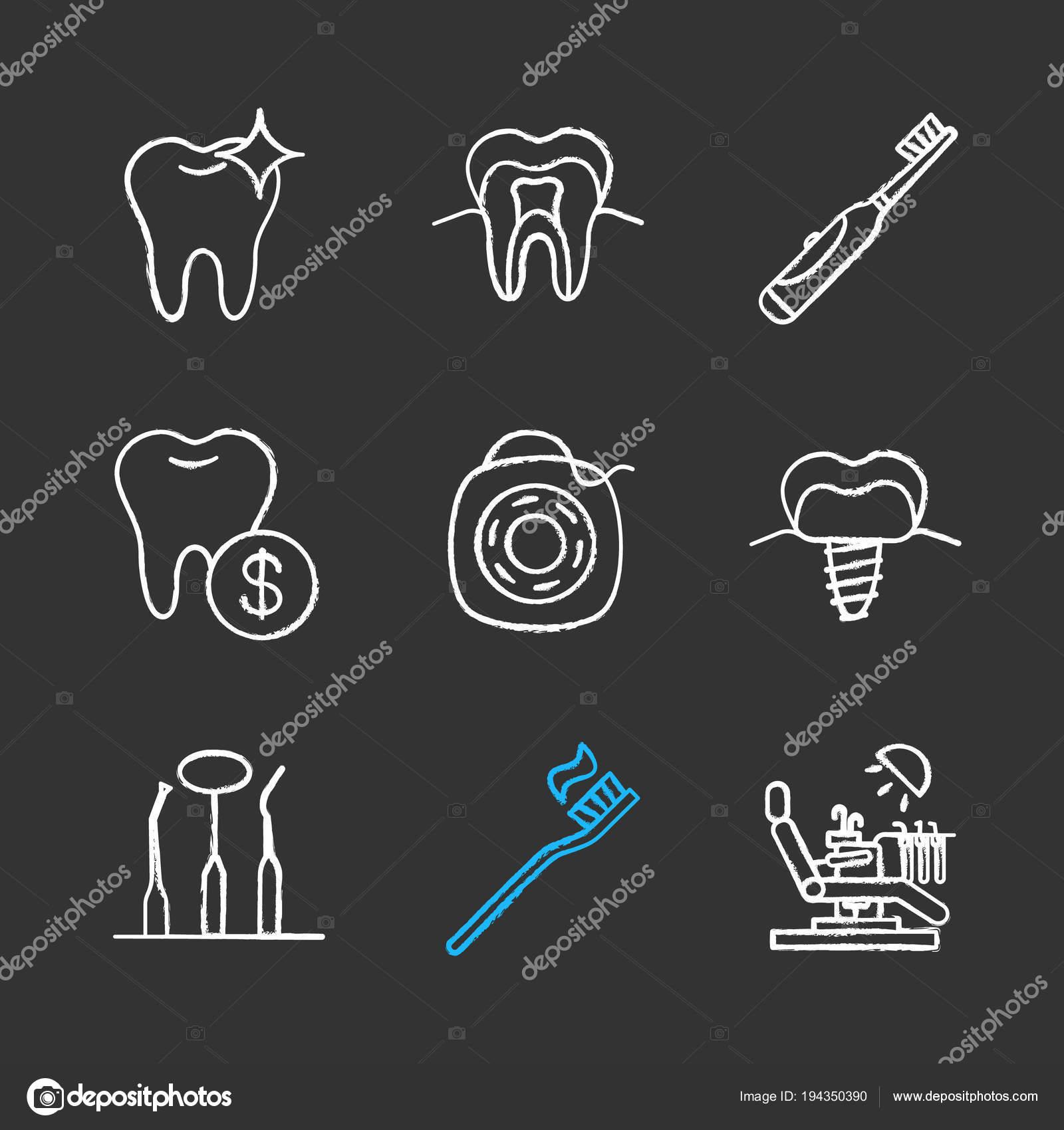 0d550e570 Conjunto Ícones Giz Odontologia Estrutura Dente Saudável Escova Dentes  Elétrica — Vetores de Stock