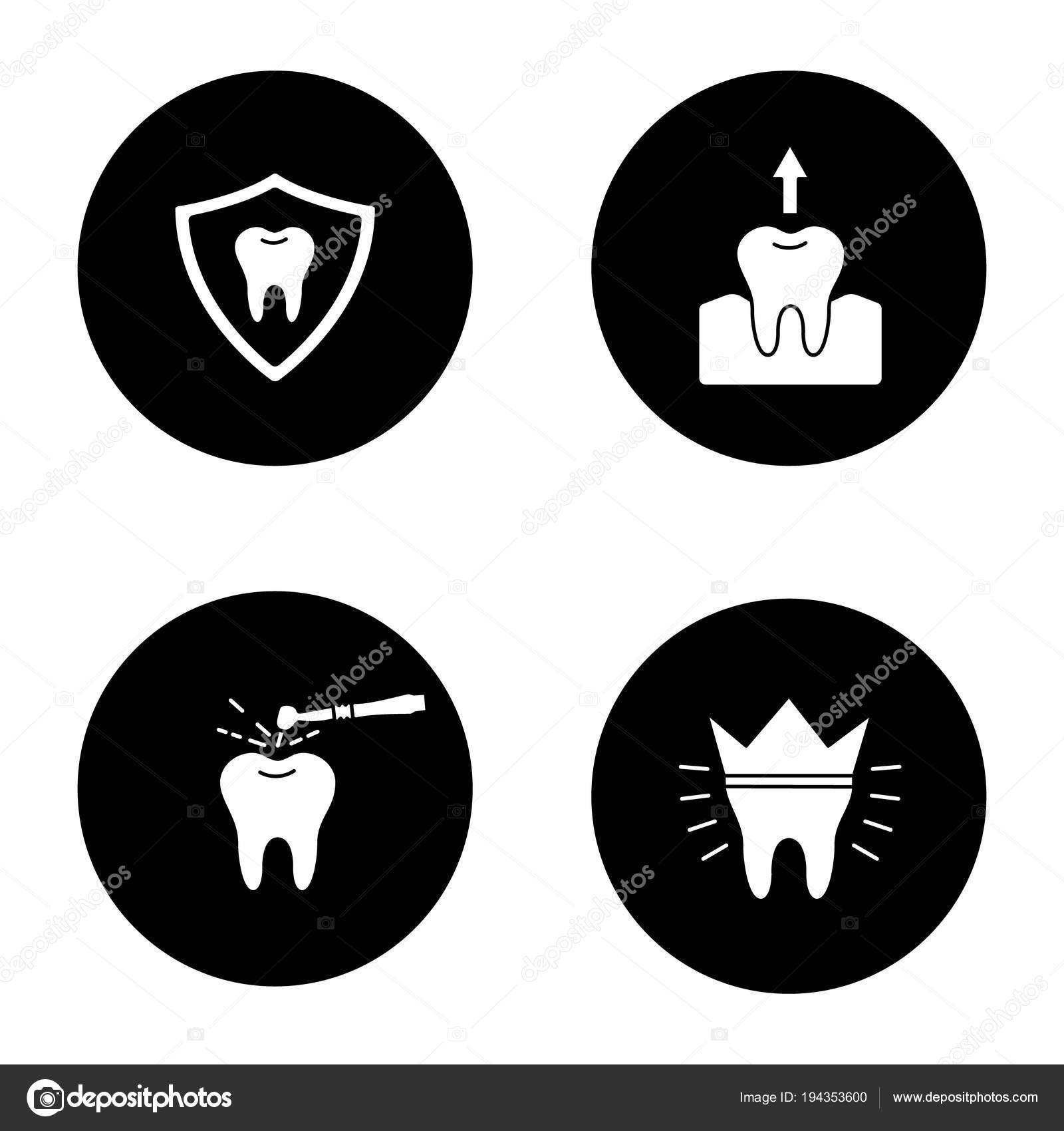 Dentistry Glyph Icons Set Stomatology Teeth Protection Tooth