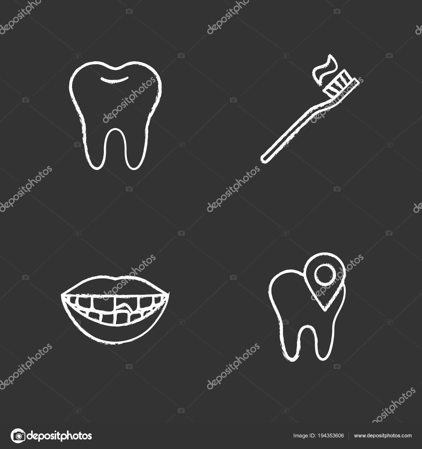 83fb3143b Conjunto de ícones de giz de odontologia. Estomatologia. Dente saudável