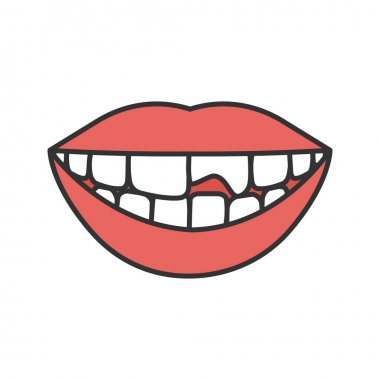 Broken tooth color icon. Chipped tooth. Isolated vector illustration