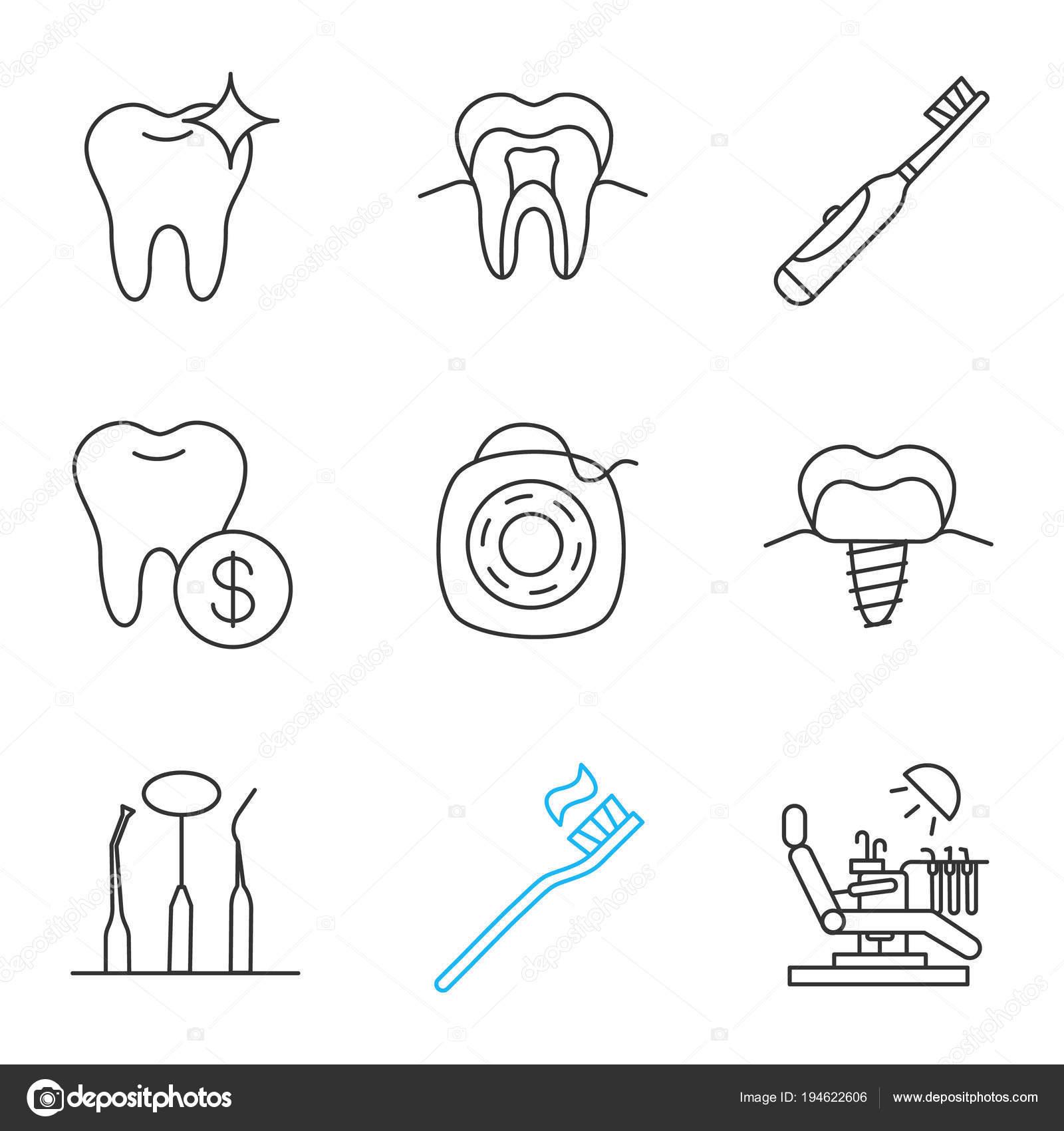 800f5a4e1 Conjunto Ícones Linear Odontologia Estrutura Dente Saudável Escova Dentes  Elétrica — Vetor de Stock