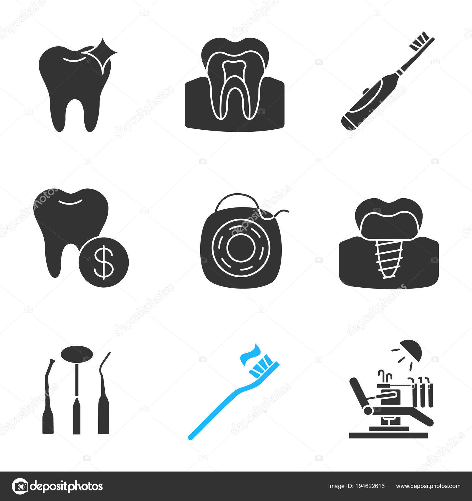 917c93096 Conjunto Ícones Glifos Odontologia Dente Saudável Escova Dentes Elétrica  Preços — Vetores de Stock