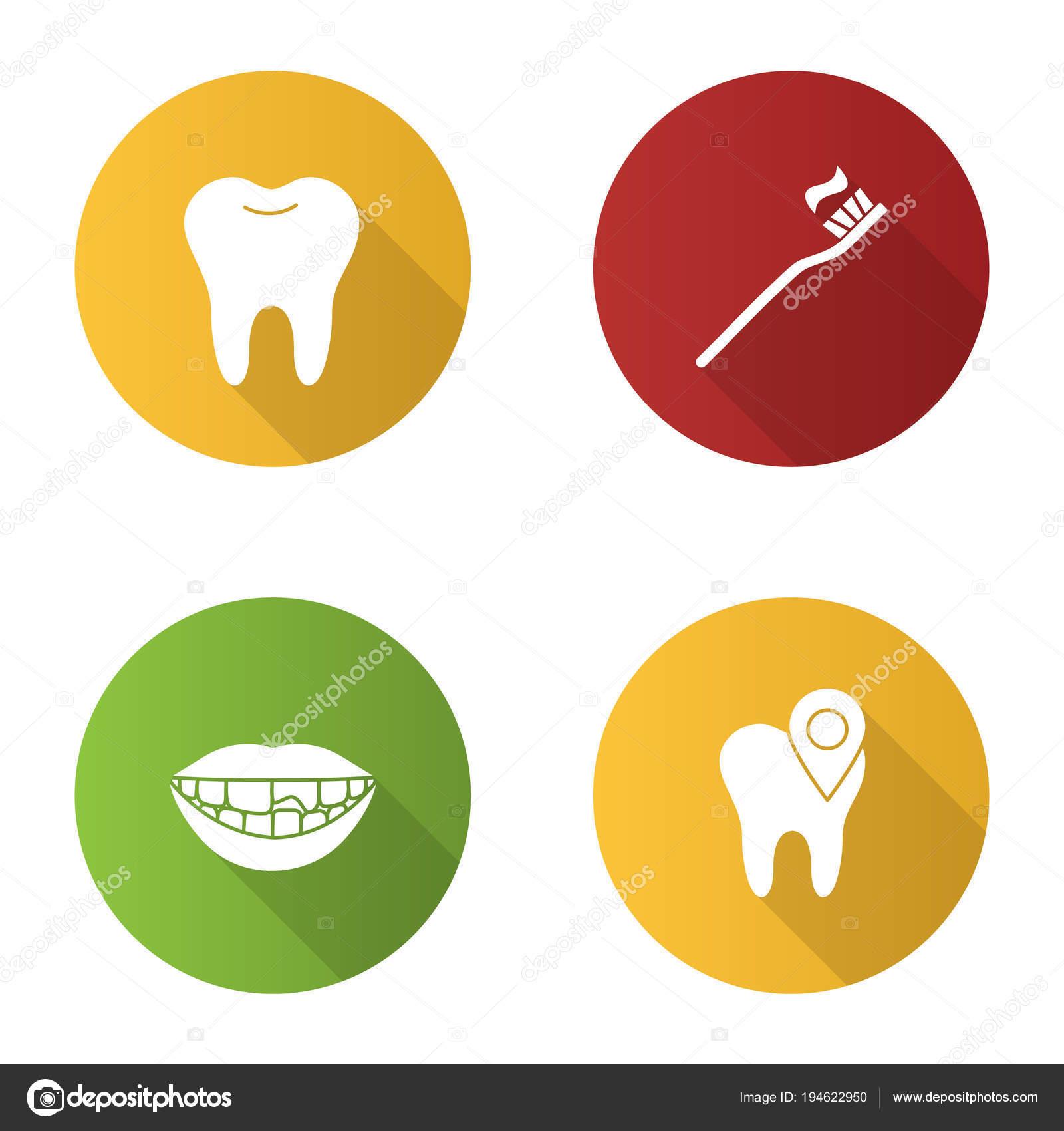 9d4d26ab3 Conjunto de ícones do Odontologia design plano sombra longa glifos.  Estomatologia. Dente saudável