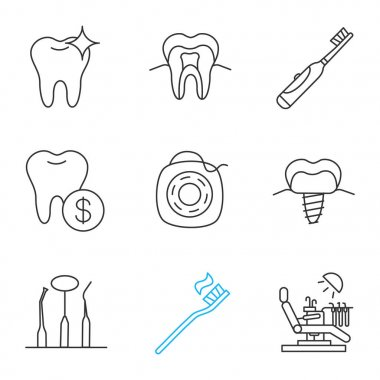Dentistry linear icons set. Healthy tooth structure, electric toothbrush, service prices, implant, instruments, floss, dental chair. Thin line contour symbols. Isolated vector outline illustrations