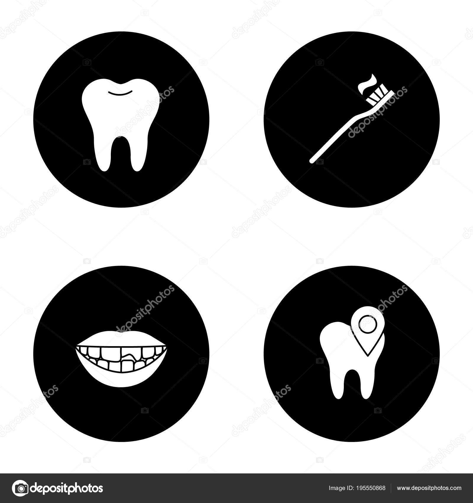 ded1a7dbb Conjunto Ícones Glifo Odontologia Dente Saudável Localização Clínica ...