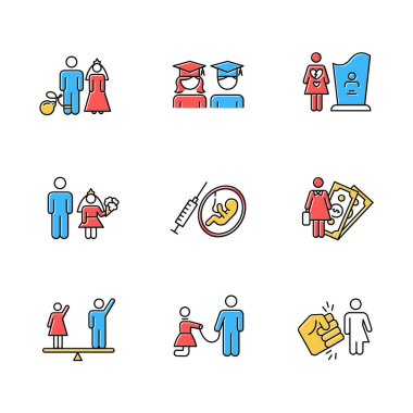 Gender equality color icons set. Forced marriage. Education equality. Maternity mortality. Child marriage. Female economic activity. Violance against trans woman. Isolated vector illustrations icon