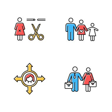 Gender equality color icons set. Forced sterilization. Woman's freedom of movement. Equal employment rights for woman and man. Family planning. Couple relationship. Isolated vector illustrations icon