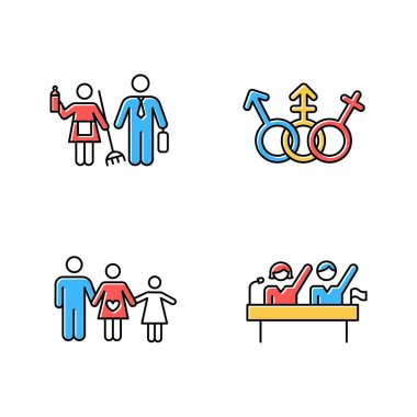 Gender equality color icons set. Politic rights. Transgender people, LGBTQ community. Female, male, trans sign. Gender stereotypes. Family planning. Couple relationship. Isolated vector illustrations icon