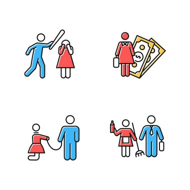 Gender equality color icons set. Female economic activity. Violence against woman. Sexual slavery. Bullying, harassment. Gender stereotypes. Couple relationship. Isolated vector illustrations icon