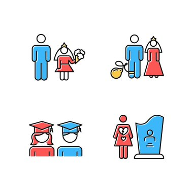 Gender equality color icons set. Child marriage. Education equality. Couple relationship. Forced marriage. College graduate. Maternal mortality. Death, grieving. Isolated vector illustrations icon