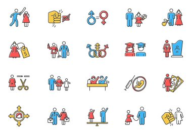 Gender equality color icons set. Woman, man right. Sexual slavery. Female economic activity. Transgender people. Employment, work. Female, male politics. Family planning. Isolated vector illustrations icon
