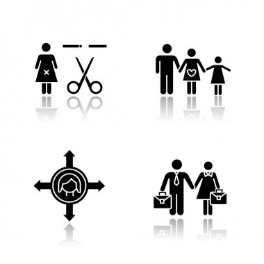 Gender equality drop shadow black glyph icons set. Forced sterilization. Woman's freedom of movement. Equal employment rights for woman and man. Family planning. Isolated vector illustrations icon
