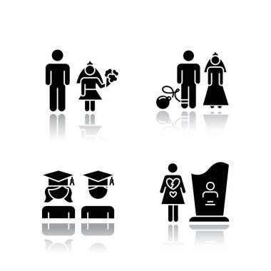 Gender equality drop shadow black glyph icons set. Child marriage. Education equality. Couple relationship. Forced marriage. College graduate. Maternal mortality. Isolated vector illustrations icon