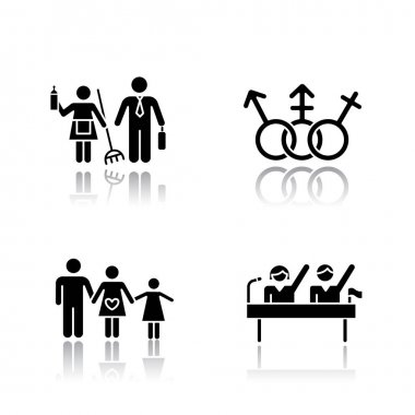 Gender equality drop shadow black glyph icons set. Politic rights. Transgender people, LGBTQ community. Female, male, trans sign. Gender stereotypes. Family planning. Isolated vector illustrations icon