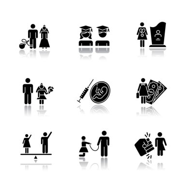 Gender equality drop shadow black glyph icons set. Forced marriage. Education equality. Maternity mortality. Child marriage. Female economic activity. Trans woman. Isolated vector illustrations icon