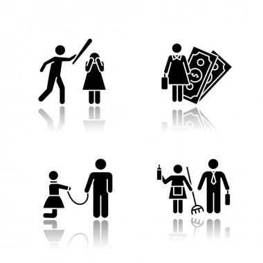 Gender equality drop shadow black glyph icons set. Female economic activity. Violence against woman. Sexual slavery. Bullying, harassment. Gender stereotypes. Isolated vector illustrations icon
