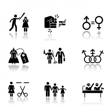 Gender equality drop shadow black glyph icons set. Violance against woman. Gender stereotypes. Bride price. Forced sterilization. Politic rights. Female abuse. Isolated vector illustrations icon