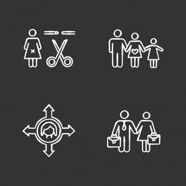 Gender equality chalk icons set. Forced sterilization. Woman's freedom of movement. Equal employment rights for woman, man. Family planning. Isolated vector chalkboard illustrations icon