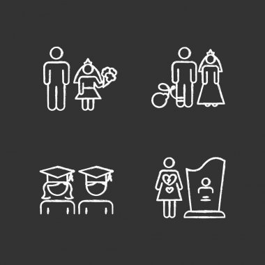 Gender equality chalk icons set. Child marriage. Education equality. Couple relationship. Forced marriage. College graduate. Maternal mortality. Isolated vector chalkboard illustrations icon