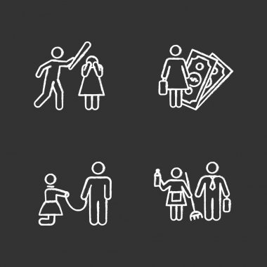 Gender equality chalk icons set. Female economic activity. Violence against woman. Sexual slavery and harassment. Gender stereotypes. Couple relationship. Isolated vector chalkboard illustrations icon