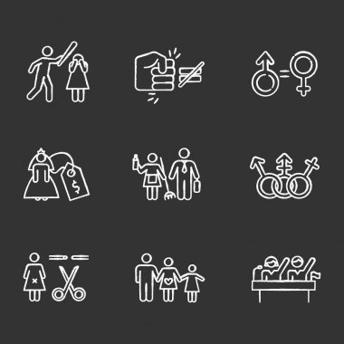 Gender equality chalk icons set. Violance against woman. Gender stereotypes. Bride price. Forced sterilization. Politic rights. Female harassment. Isolated vector chalkboard illustrations icon
