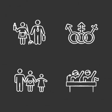 Gender equality chalk icons set. Politic rights. Transgender people, LGBTQ community. Female, male, trans sign. Gender stereotypes. Family planning. Isolated vector chalkboard illustrations icon