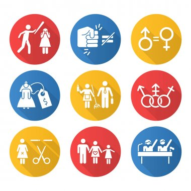 Gender equality flat design long shadow glyph icons set. Violance against woman. Gender stereotypes. Bride prize. Forced sterilization. Politic rights. Female abuse. Vector silhouette illustration icon