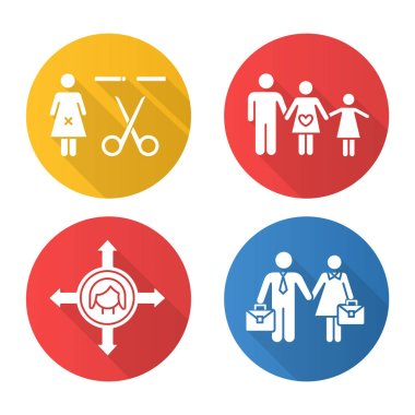 Gender equality flat design long shadow glyph icons set. Forced sterilization. Woman's freedom of movement. Equal employment rights for woman and man. Family planning. Vector silhouette illustration icon