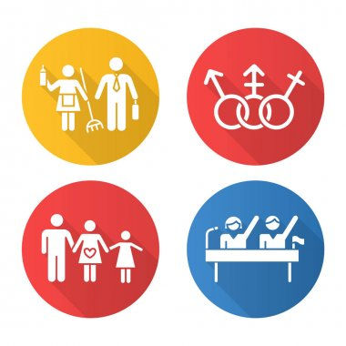 Gender equality flat design long shadow glyph icons set. Politic rights. Transgender, LGBTQ community. Female, male, trans sign. Gender stereotypes. Family planning.Vector silhouette illustration icon