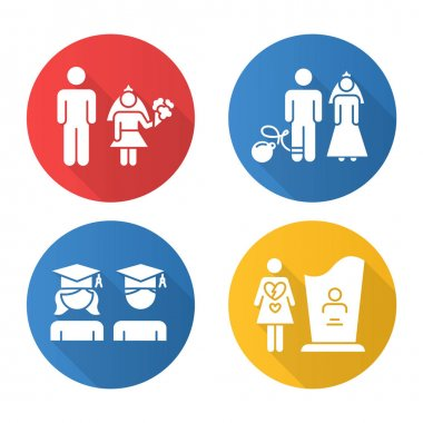 Gender equality flat design long shadow glyph icons set. Child marriage. Education equality. Couple relationship. Forced marriage. College graduate. Maternal mortality. Vector silhouette illustration icon