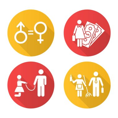 Gender equality flat design long shadow glyph icons set. Female economic activity. Violence against woman. Sexual slavery. Gender stereotypes. Isolated vector Vector silhouette illustration icon