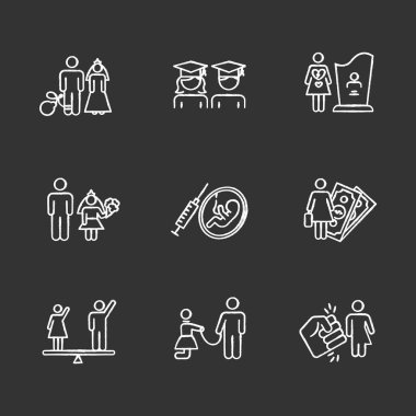 Gender equality chalk icons set. Forced marriage. Education equality. Maternity mortality. Child marriage. Female economic activity. Violance against trans. Isolated vector chalkboard illustrations icon