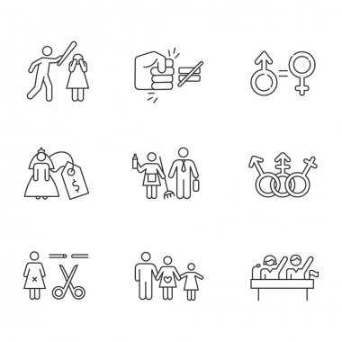 Gender equality linear icons set. Violance against woman. Gender stereotypes. Forced sterilization. Politic rights. Thin line contour symbols. Isolated vector outline illustrations. Editable stroke icon