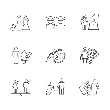 Gender equality linear icons set. Forced marriage. Education equality. Maternity mortality. Female economic activity. Thin line contour symbols. Isolated vector outline illustrations. Editable stroke icon