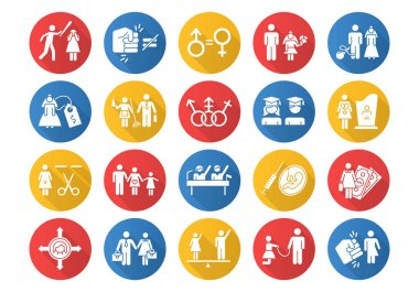 Gender equality flat design long shadow glyph icons set. Sexual slavery. Female economic activity. Transgender. Employment, work. Female, male politics. Family planning. Vector silhouette illustration icon