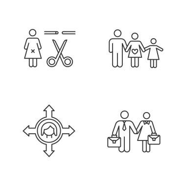 Gender equality linear icons set. Forced sterilization. Woman's freedom of movement. Employment. Family planning. Thin line contour symbols. Isolated vector outline illustrations. Editable stroke icon