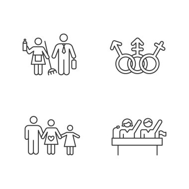 Gender equality linear icons set. Politic rights. LGBTQ community sign. Gender stereotypes. Family planning. Thin line contour symbols. Isolated vector outline illustrations. Editable stroke icon