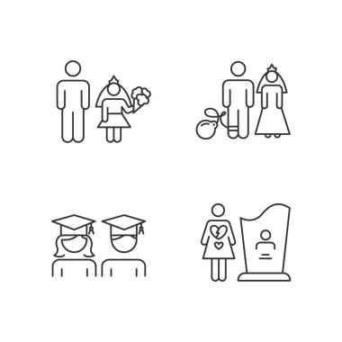 Gender equality linear icons set. Child marriage. Education equality. Forced marriage. Maternal mortality. Thin line contour symbols. Isolated vector outline illustrations. Editable stroke icon