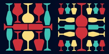 Glassware red, yellow and turquoise color icons set. Restaurant service. Alcohol bar. Port and madeira glasses. Wineglasses on dark blue background. Isolated vector illustrations icon