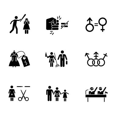 Gender equality glyph icons set. Violance against woman. Gender stereotypes. Bride price. Forced sterilization. Politic rights. Female harassment. Silhouette symbols. Vector isolated illustration icon