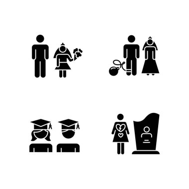 Gender equality glyph icons set. Child marriage. Education equality. Couple relationship. Forced marriage. College graduate. Maternal mortality. Silhouette symbols. Vector isolated illustration icon