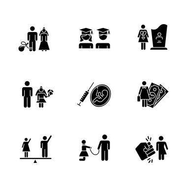 Gender equality glyph icons set. Forced marriage. Education equality. Maternity mortality. Female economic activity. Violance against trans woman. Silhouette symbols. Vector isolated illustration icon