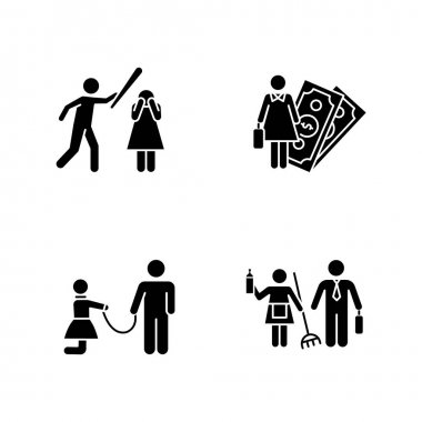 Gender equality glyph icons set. Female economic activity. Violence against woman. Sexual slavery. Bullying. Gender stereotypes. Isolated vector. Silhouette symbols. Vector isolated illustration icon